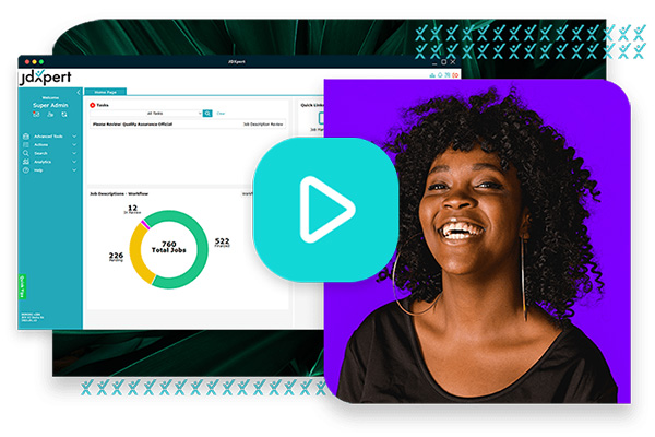 JDXpert job descriptions dashboard with smiling woman